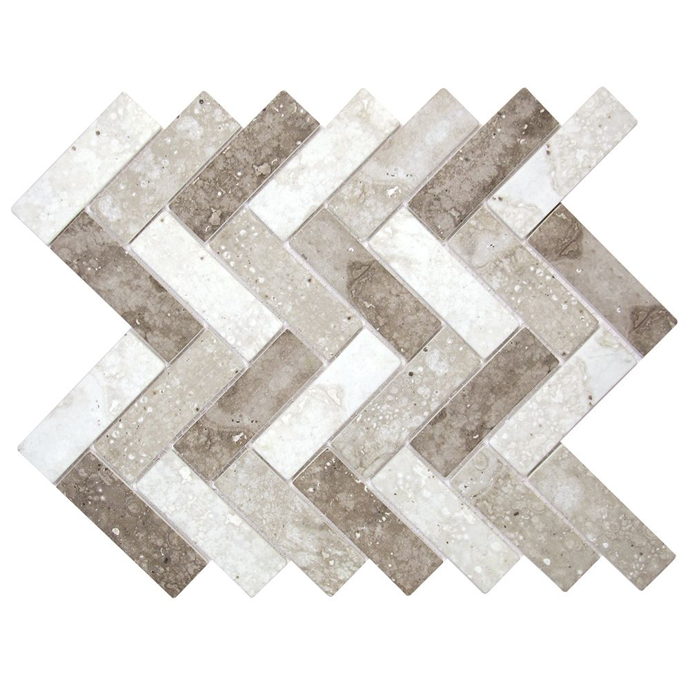 Spigacycle Silver Mix Herringbone Recycled Glass Tile | kitchen ...