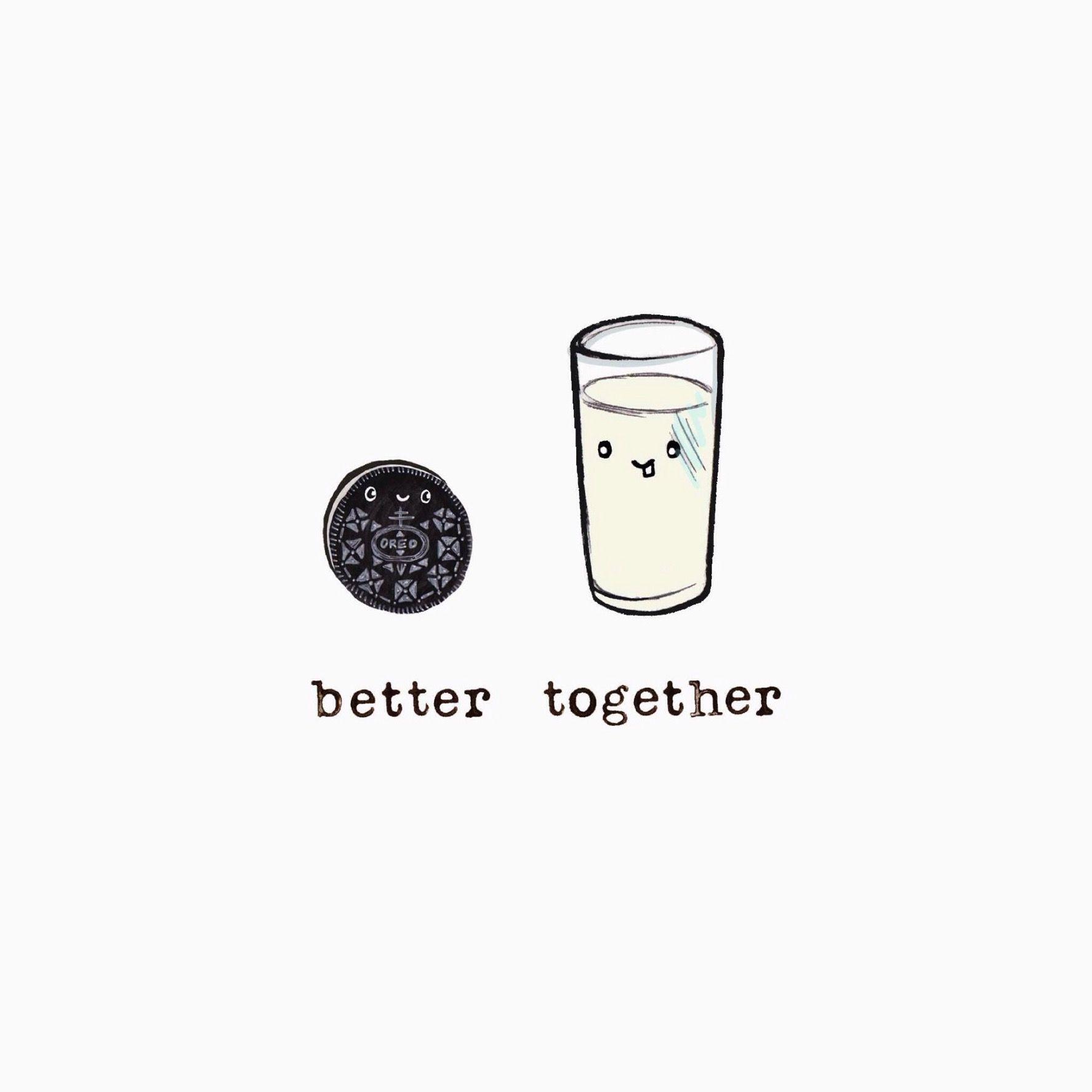 Oreo And Milk Cute Food Drawings Best Friend Wallpaper Cute Kawaii Drawings