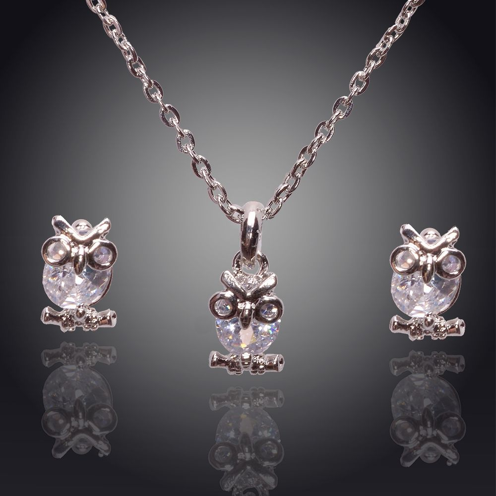 Owl jewelry zircon silver plated owl necklace and earring set