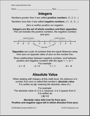 Common Core Math Worksheets Sixth Grade Math Integer Preview