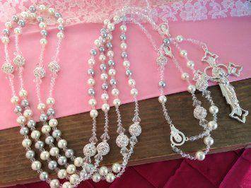 Swarovski Silver and Cream Color Pearls Wedding Lasso/laso De Boda/ Crystal Pearls Wedding Rosary /Lazo De Boda En Perlas Grises Y Cremita