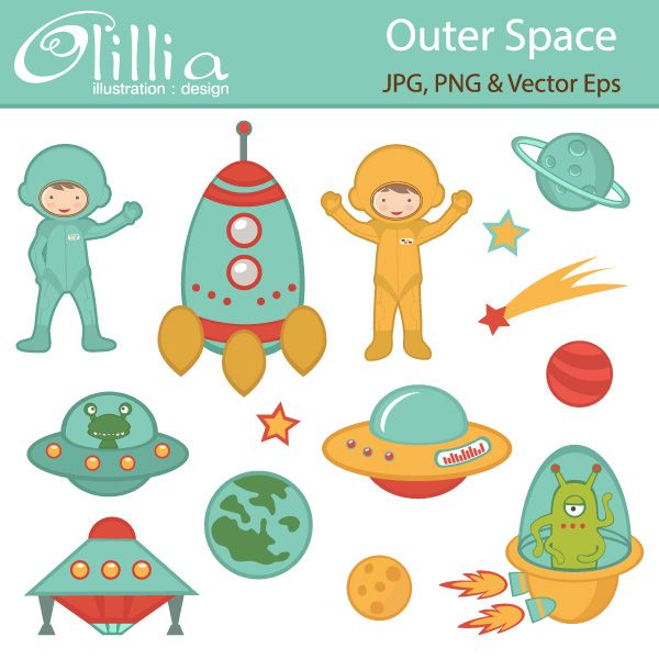 Outer Space Clipart, Girl Astronauts, Rockets, Aliens, Planets ...