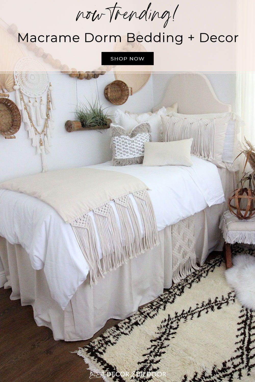Macrame Dorm Bedding In 2020 Dorm Bedding Sets Dorm Room Designs Dorm Room Inspiration