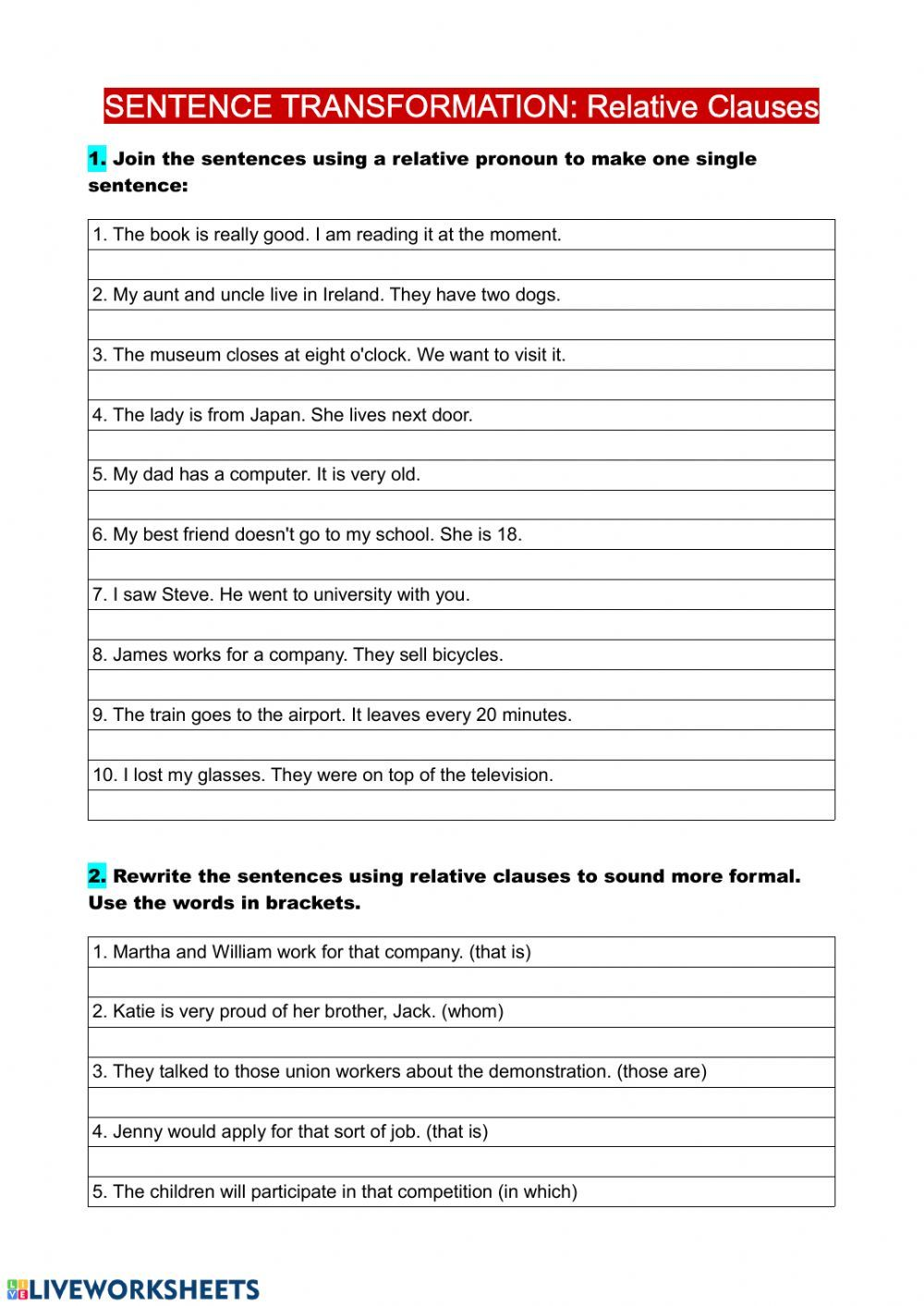 Relative clauses interactive and downloadable worksheet