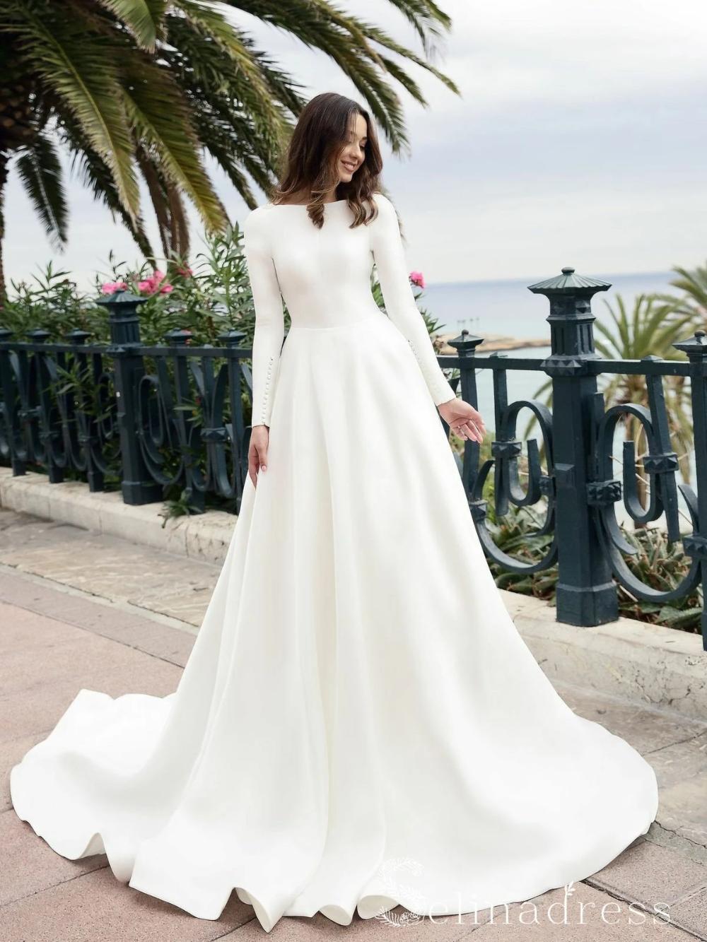 A Line Long Sleeve Backless Wedding Dresses White Satin Princess Wedding Dress Sew058 In 2021 Wedding Dresses Satin Modest Wedding Dresses Wedding Gown Simple [ 1333 x 1000 Pixel ]