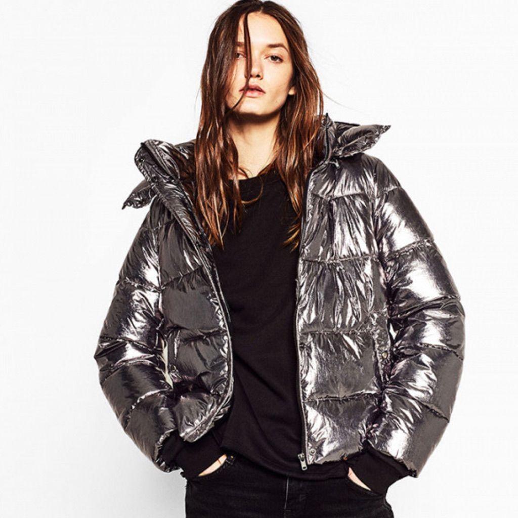 Zara Metallic Jacket Metallic Jacket Parka Jacket Women Winter Parka Jacket