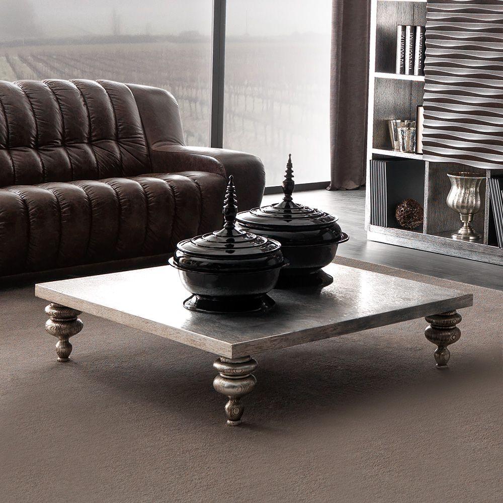 Designer Silver Leaf Low Coffee Table Designer