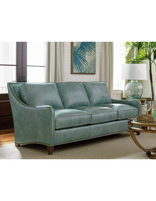 Twin Palms Koko Leather Sofa In Aqua By Tommy Bahama Blue Leather Sofa Best Leather Sofa Blue Leather Couch