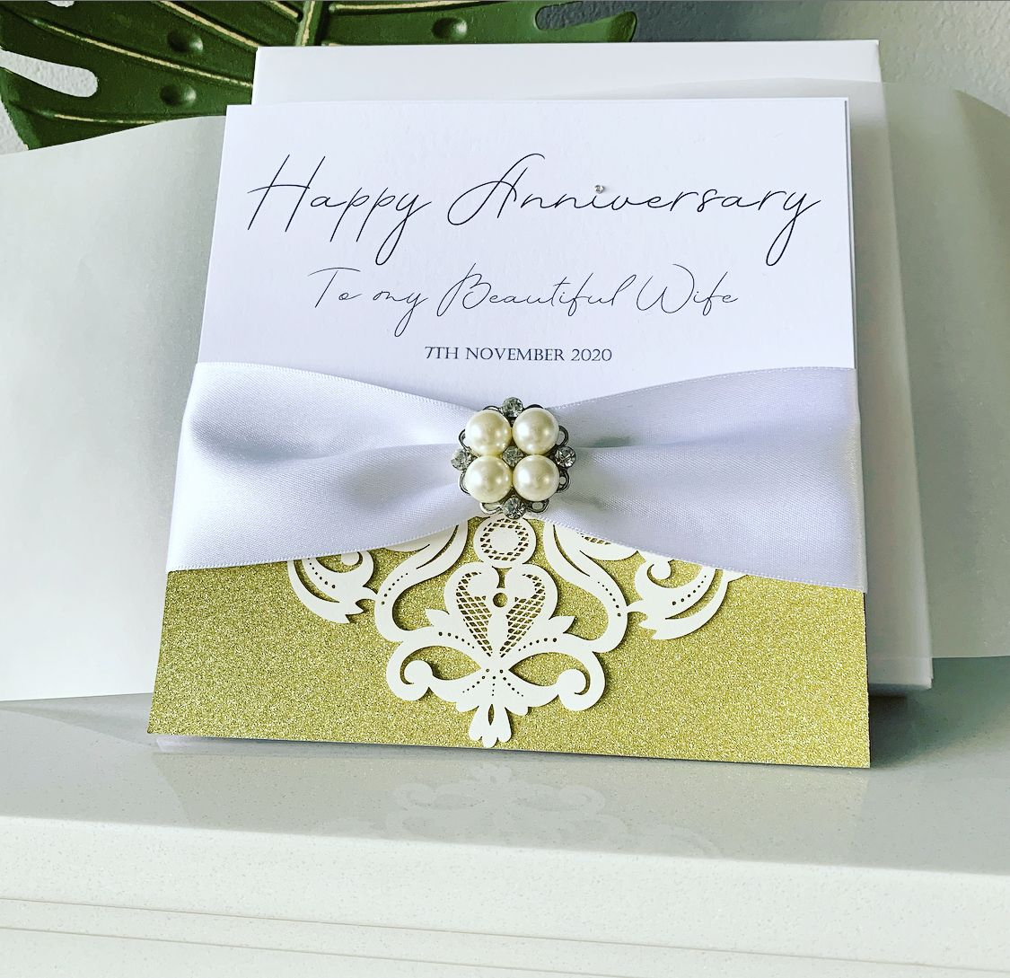 Pearl Wedding Anniversary Luxury Card Amor Designs Anniversary Cards For Wife Anniversary Cards For Husband Wedding Anniversary Cards