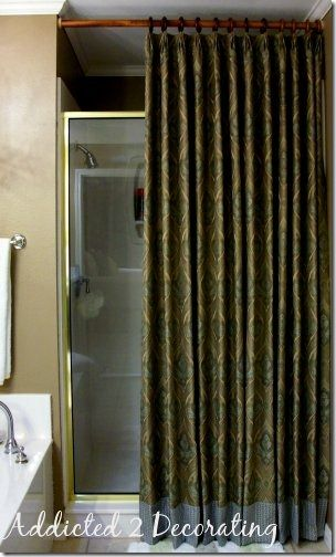 New Shower Curtain Idea Diy Project How To Make Unlined Pinch Pleated Drapery Panels With Contrast Fabric Band At The Bottom
