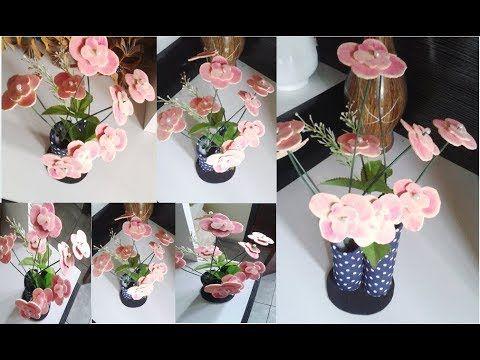 Aprenda A Fazer Este Arranjo Flores De Eva Vaso De Rolo De Papel