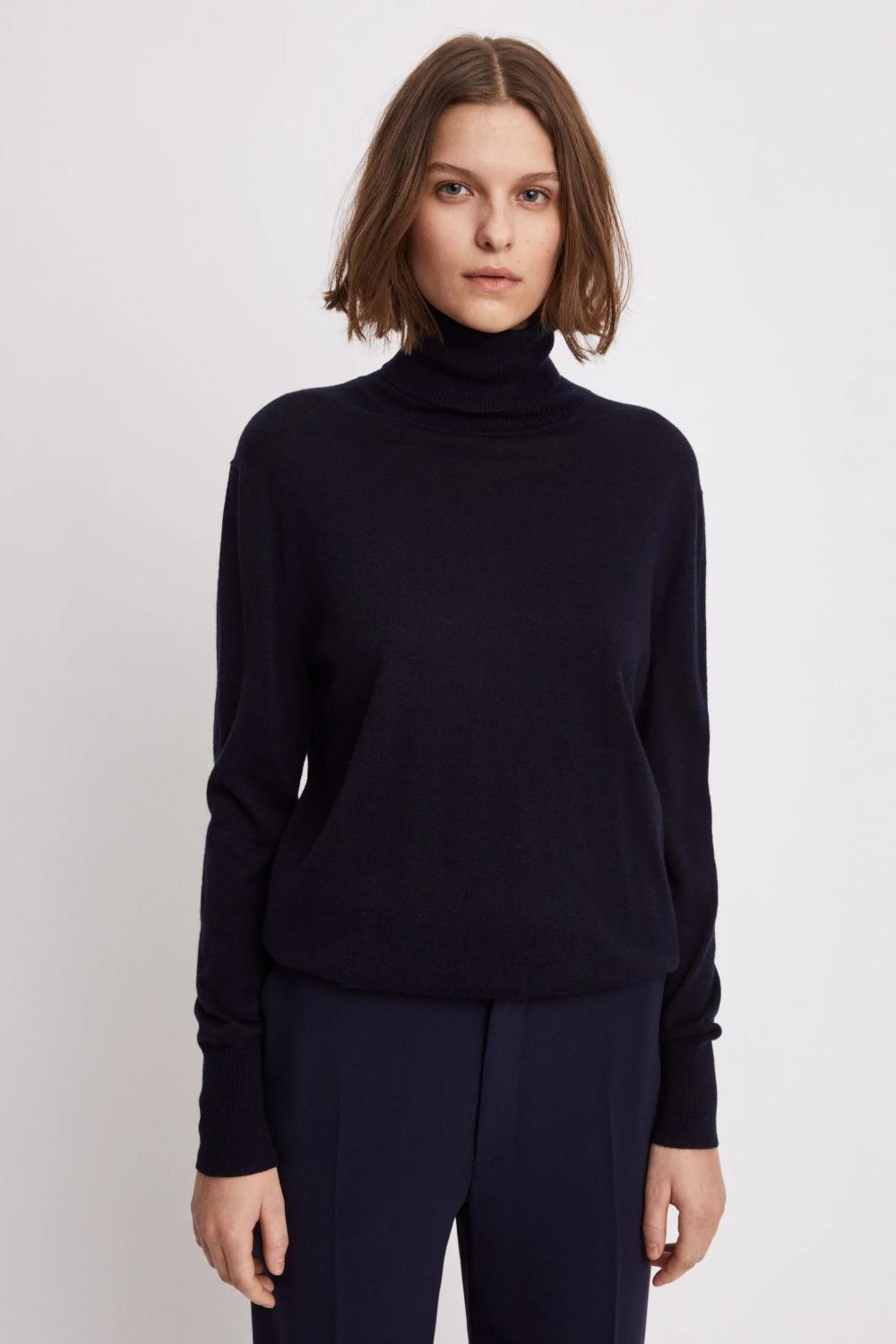 Silk Mix Roller Neck Sweater Polotroja Kashmir Manschett