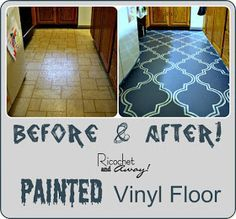 Paint and stencil a vinyl floor. (Do this with Mom's kitchen & bathroom.)