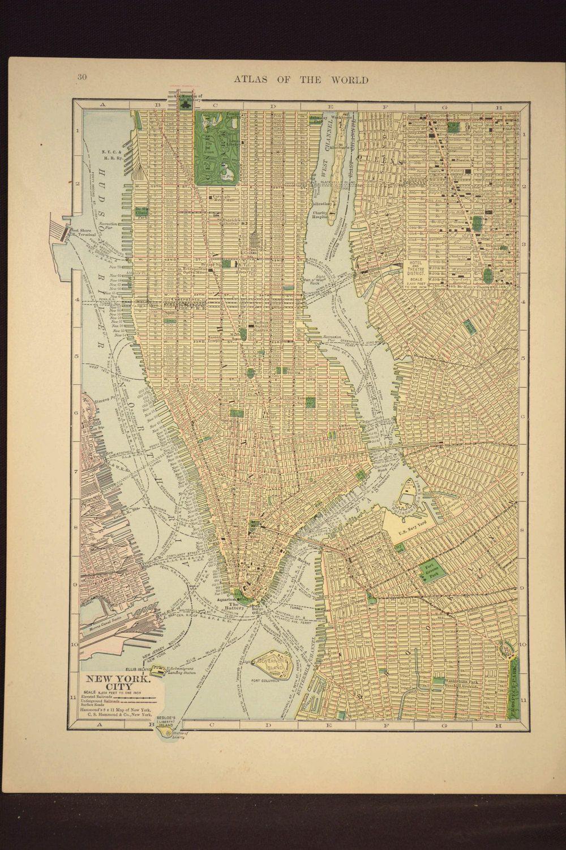 Map Manhattan Map Lower New York City Map Antique Original | Map ...