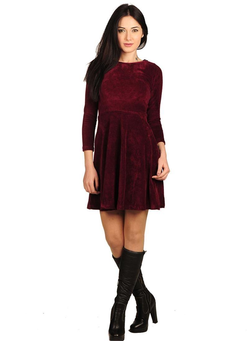 Modelleri ve elbise fiyatlar modasor com pictures to pin on pinterest - Bayan Elbise Kadife Bordo Modelleri Ve Uygun Fiyat Avantaj Yla Modabenle