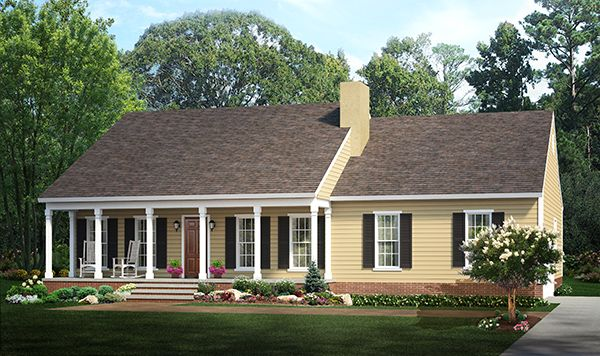 This Affordable Southern Ranch House Plan Now Has An Aerial View Rendering Ranch Style House Plans Ranch Style Homes Country Style House Plans