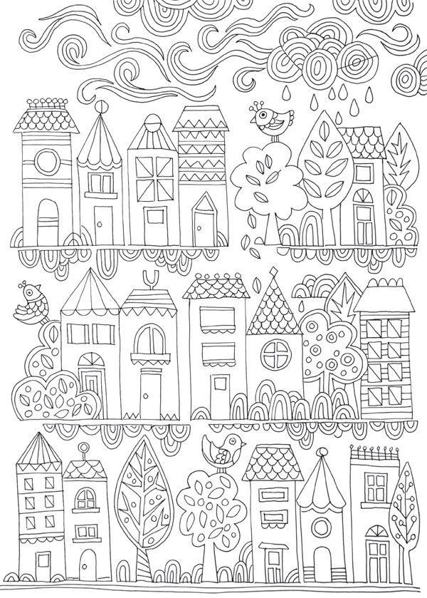FREE COLOURING POSTER: Tiny Town | Arte | Pinterest