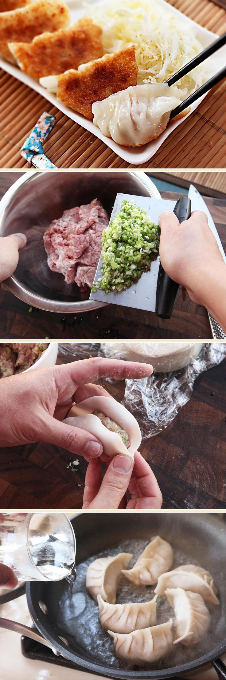 to Make Japanese-Style Pork and Cabbage Dumplings (Gyoza) How to Make Potstickers (Japanese-style Gyoza). Step-by-step instructions, photos, videos, and recipe!How to Make Potstickers (Japanese-style Gyoza). Step-by-step instructions, photos, videos, and recipe!