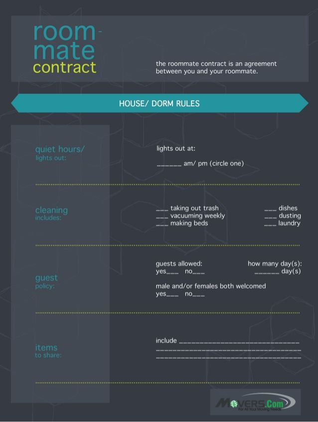 Set Some Ground Rules For You And Your Roommate With This Easy To  Understand Roommate Contract. Itu0027s Great For Dorms Too! Part 24