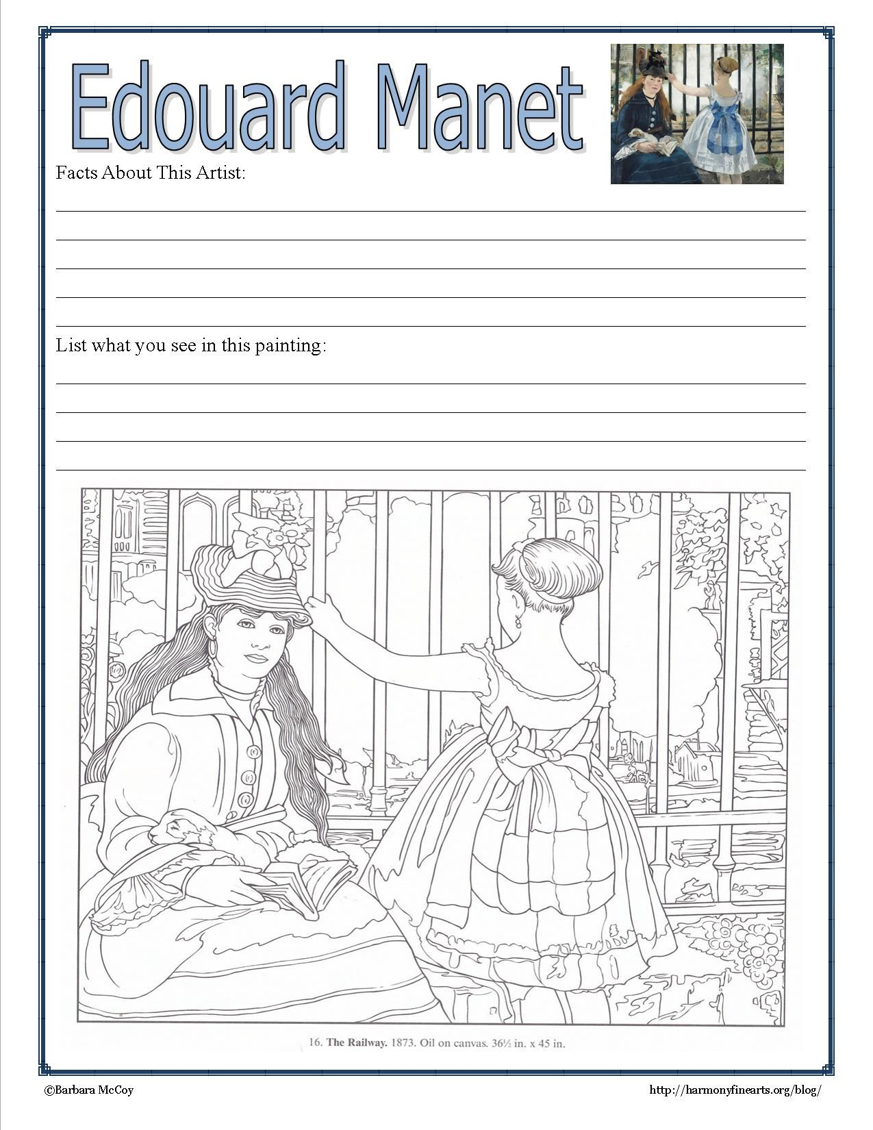 Uncategorized Art History Worksheets manet notebook page intimate impressionist harmonyfinearts art worksheetsedouard