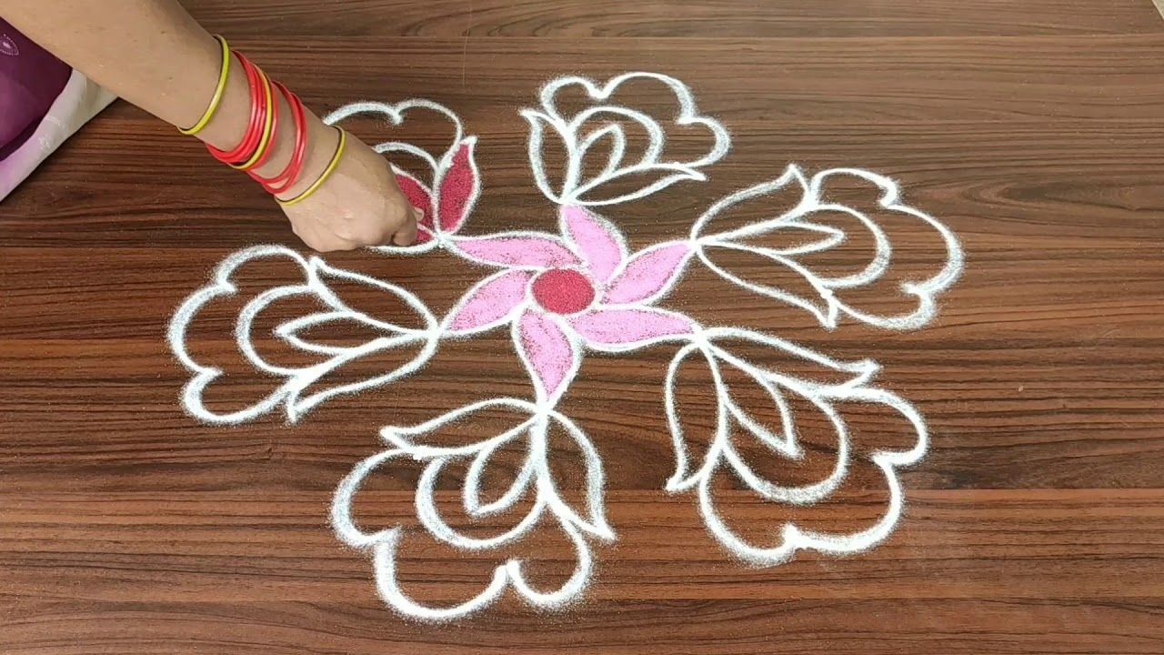 simple rose flower rangoli design with 5 dots made easy