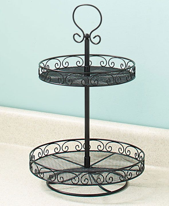 Black 2 Tier Lazy Susan Metal Kitchen Organizer Fruit Stand Rotating 12 Dai Unbranded Bathroom Vanity Storage Metal Kitchen Kitchen Organization