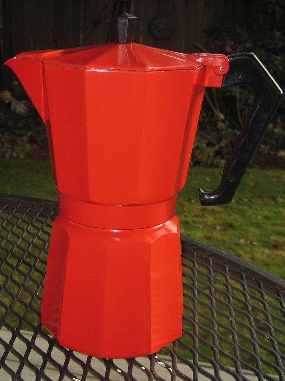 Red Enamel Italian Espresso Maker, Stovetop Coffee Pot ...