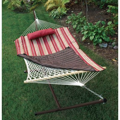 algoma colorcotton rope hammock with stand pad and pillow   wayfair algoma colorcotton rope hammock with stand pad and pillow      rh   pinterest