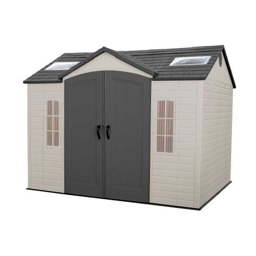Lifetime 60005 8 By 10 Foot Outdoor Storage Shed With Windows Skylights And Shelving Outdoor Storage Sheds Plastic Sheds Shed Storage