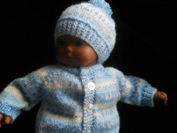 Bitty niño gemelo de punto jersey con Pom Pom gorro en 15 a 16 en las muñecas