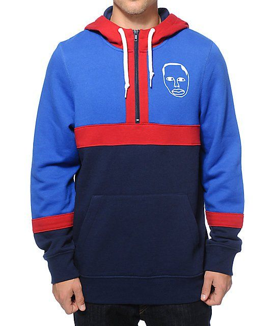 Brighten any outfit with a blue, red, and navy color blocked design with a half zip up closure and Earl Sweatshirt face and 1994 graphic on the left chest and back.