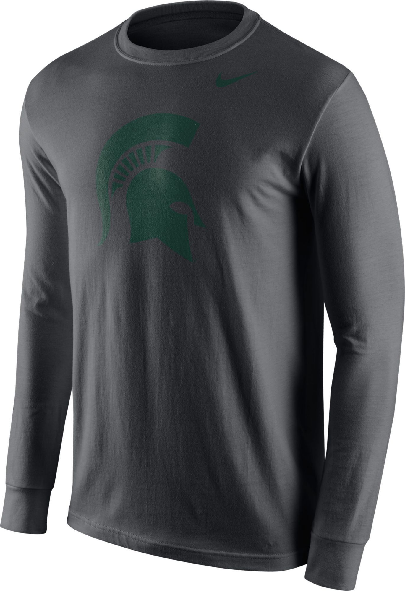 Nike Men s Michigan State Spartans Anthracite Logo Long Sleeve Shirt