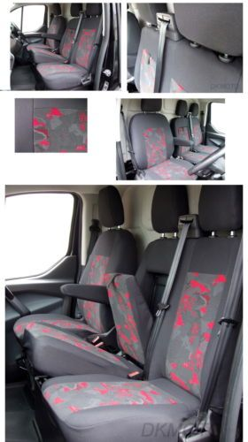 Ford Transit Custom Fully Tailored Seat Covers Grey Red Transit