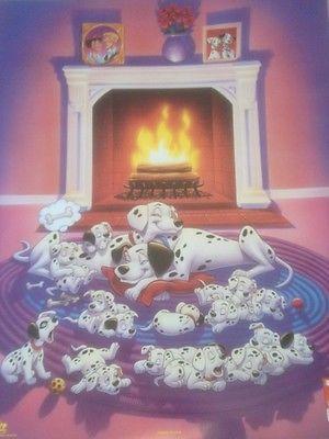 Walt Disney's 101 Dalmatians Sleeping At The Fireplace Movie ...