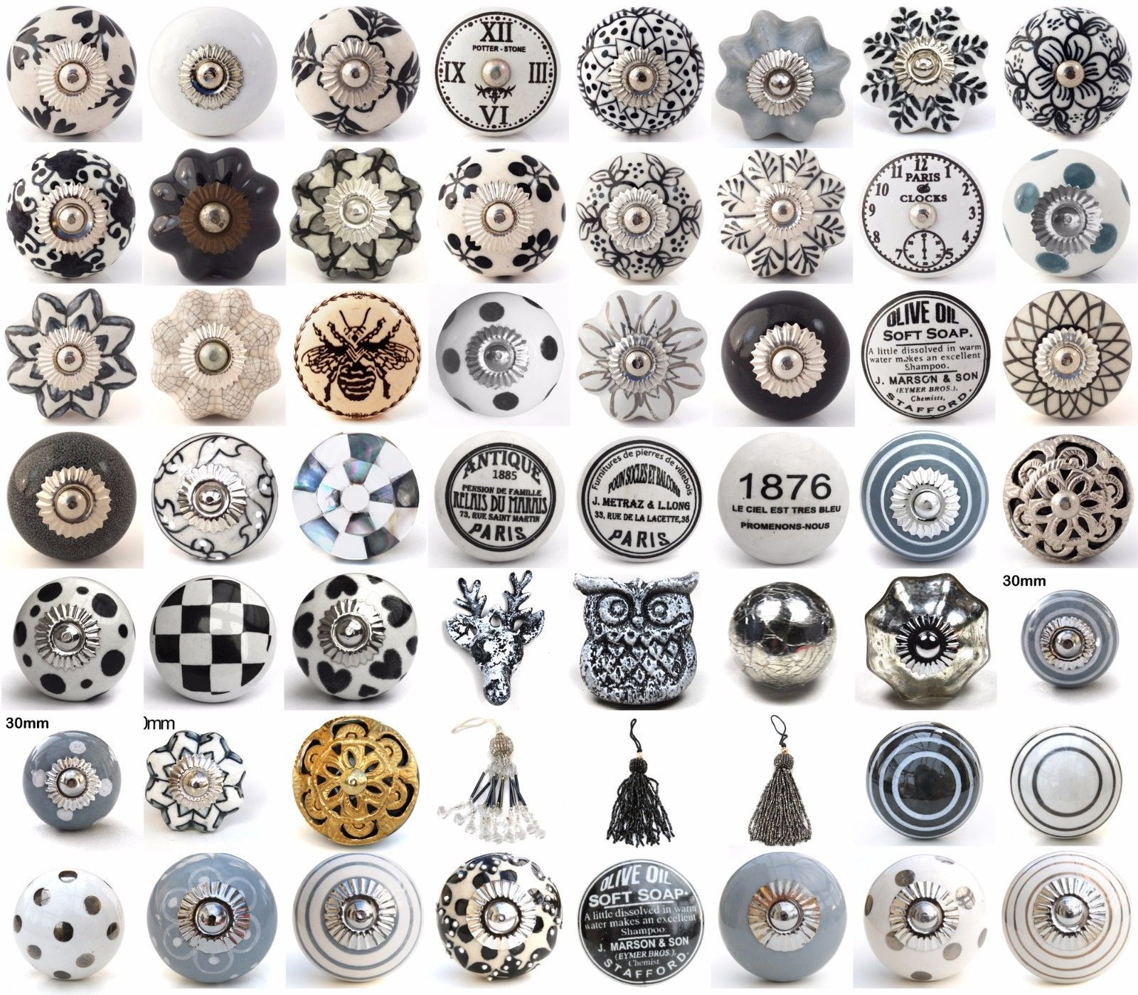 Wrong Size But Pattern Inspiration Black White Grey Ceramic Knobs Drawer  Pull Cupboard Door Knobs Porcelain China In Home, Furniture U0026 DIY, Home  Decor, ...