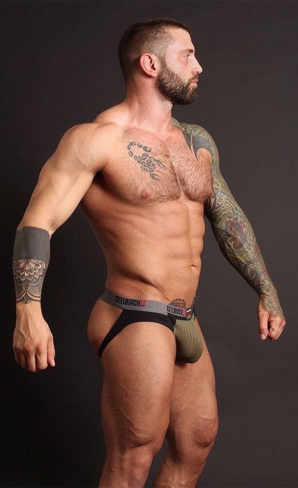 Gay man leather underwear
