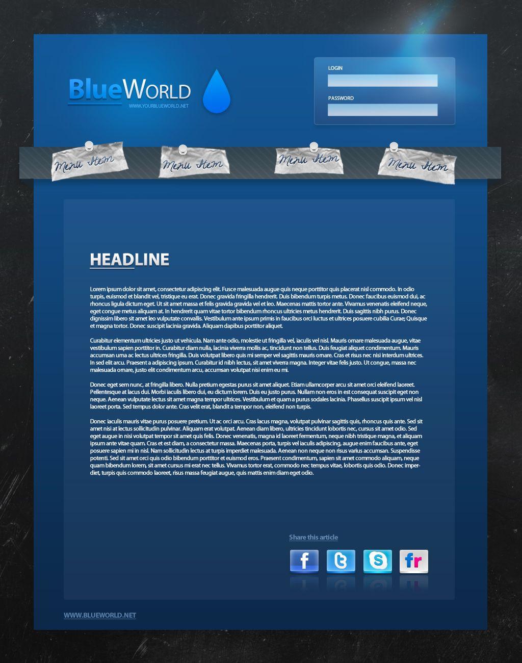 BlueWorld Website Template PSD by Martz90.deviantart.com on ...