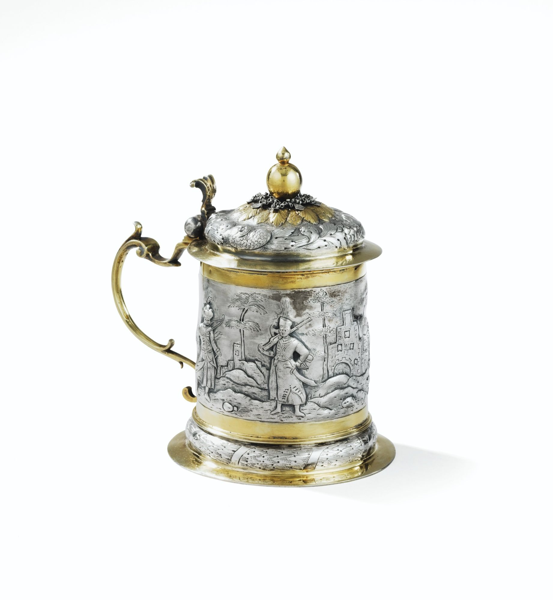 A PARCEL-GILT SILVER TANKARD, PROBABLY GERMANY, CIRCA 1680