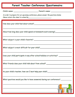Send Home Before Conferences Great Idea Parent Teacher