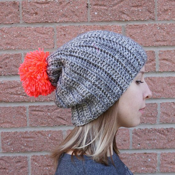 Crochet hat ribbed beanie with neon pom pom, knitted oversized pom ...