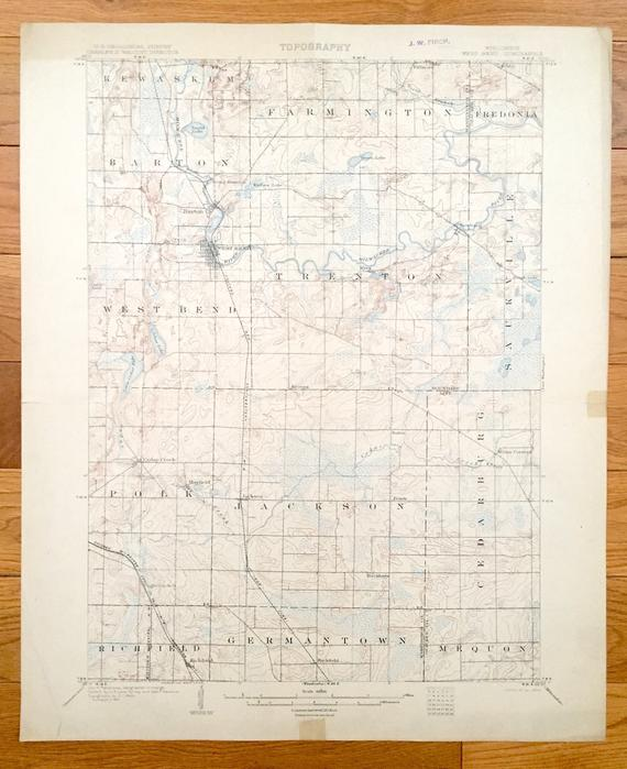 Antique West Bend Wisconsin 1904 Us Geological Survey Topographic