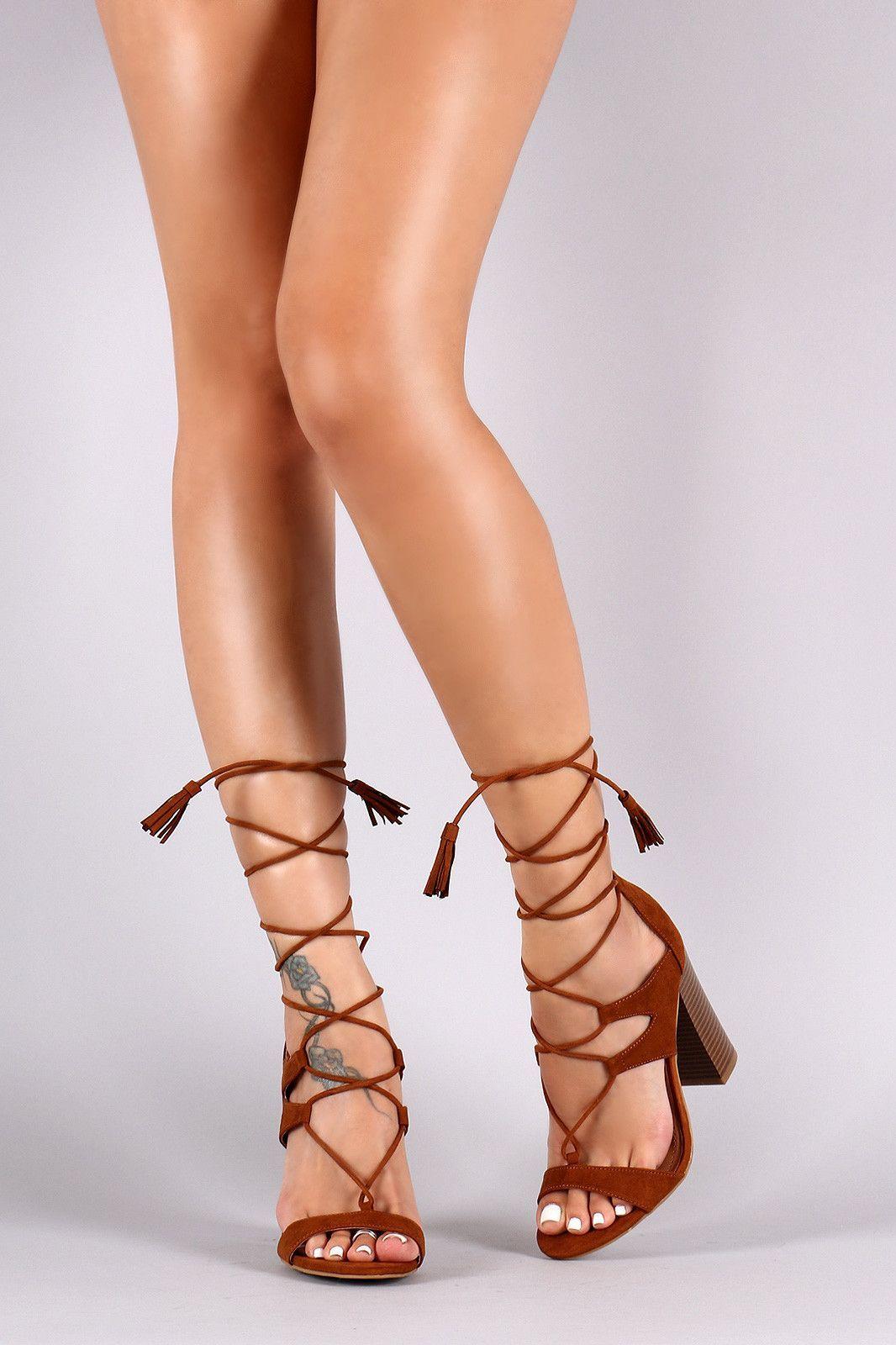 c963eeb8dc2 Bamboo Suede Tassel Lace Up Chunky Heel