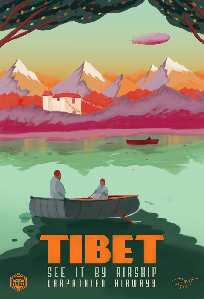 Tibet See It By Airship China Chinese Orient Travel Advertisement Poster Mas