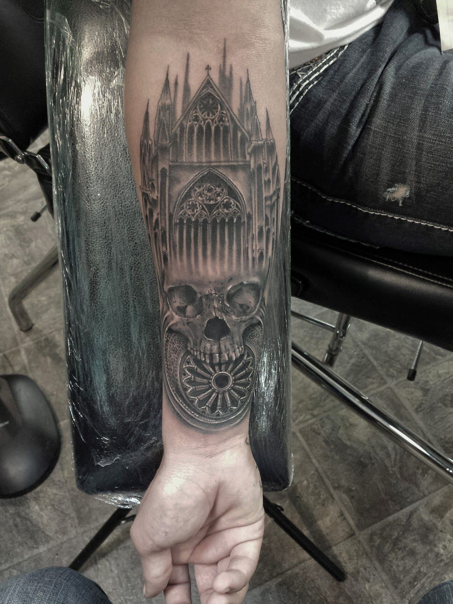 Skull Cathedral Made At The Divine Canvas Cathedral Tattoo Architecture Tattoo Church Tattoo