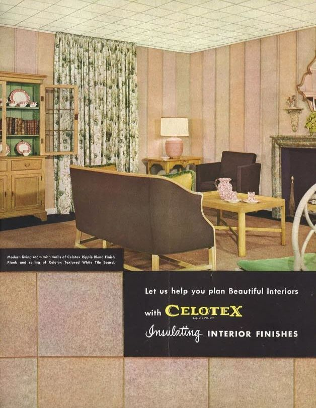 Celotex Interior Finishes, 1949.  Celotex Corp., Chicago IL. From the Association for Preservation Technology (APT) - Building Technology Heritage Library, an online archive of period architectural trade catalogs. Select an era or material era and become an architectural time traveler.