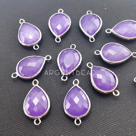 925 Silver Charm Handmade Charms Amethyst Gemstone Charms Purple Color Charms Bezel Connectors