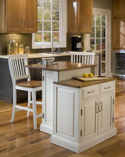 Home Styles 5010-948 Woodbridge 2-Tier Kitchen Island with 2 Stool