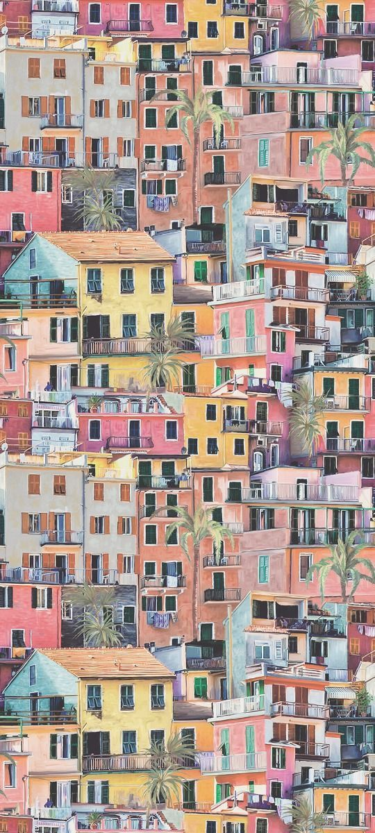 This village scene is typical of Liguria; a tumble of painted houses, interspersed with palm trees, facing out to sea with shuttered windows and terracotta tiled rooves. This terracotta/coral/aqua colourway is also presented as a fabric with two additional colourways. PORTOVENERE is a medieval fishing village just south of the Cinque Terre.Please allow 1 - 2 weeks to ship out and receive tracking. Material: Non-woven Pattern Repeat: 30