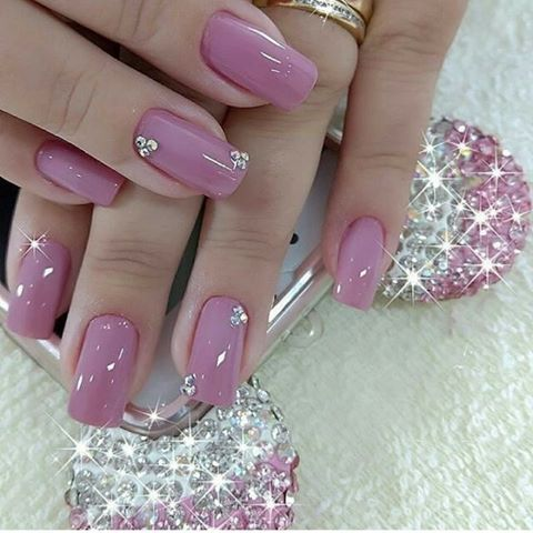 pink with a little bling  pink holographic nails