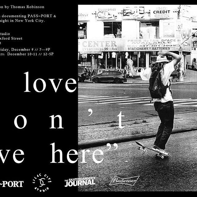 "We sweated constantly for 2 weeks straight over summer in NYC this year & @lobster_cooked was nice enough to document the sweat beads dropping off us all one by one ""LOVE DON'T LIVE HERE"" an exhibition  by Thomas Robinson @lilaccitystudio 9th December ~ thanks to @theskateboardersjournal @budweiser_australia 🍾🍾🍾"